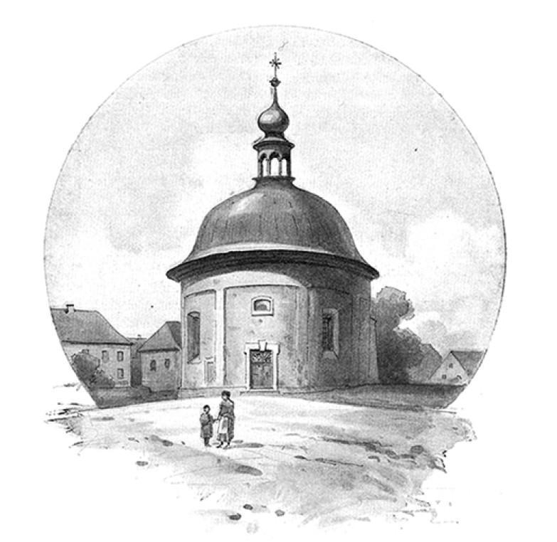 kresba kostela v Levíně