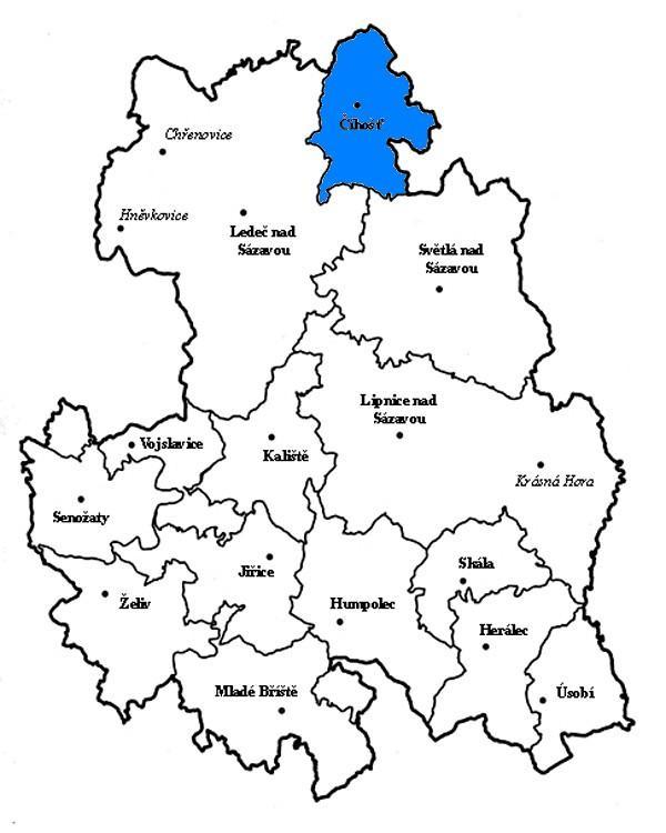 Mapka s vyznačením obce Číhošť