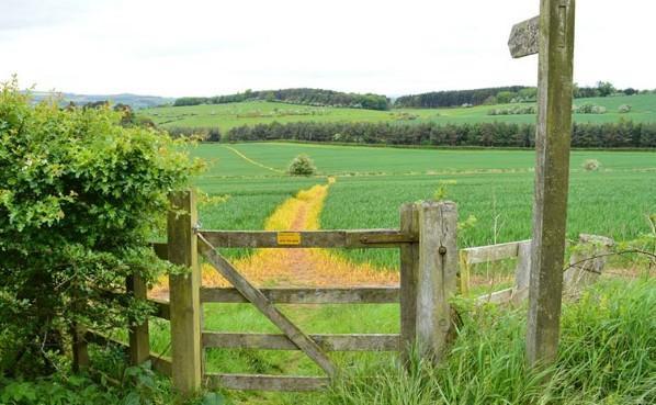 Public footpath vede skrze pastviny, pole, louky, lesy