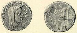 Denár s Pontifex Maximus Julius Caesar