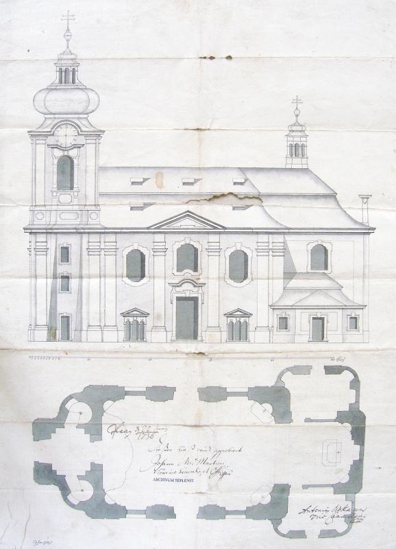 Původní stavební plán z roku 1736 od stavitele Johanna Schmieda