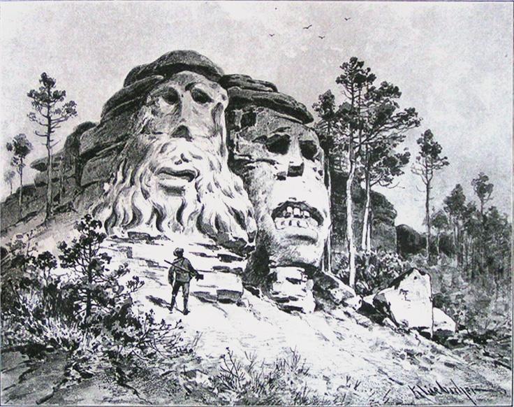 Vyobrazení Čertových hlav v porovnání s člověkem
